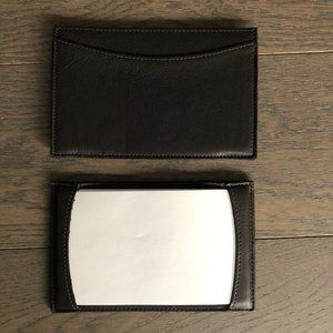 Luxury Leather Credit Card + Notes Holder Brown OS